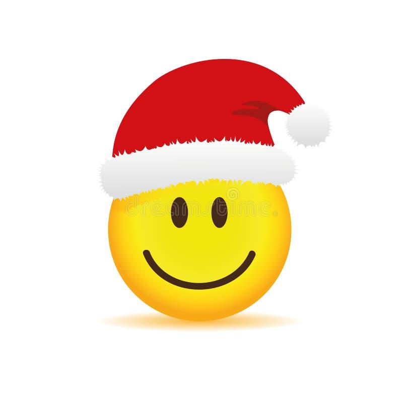 Emoji feliz da cara com o tampão vermelho de Santa ilustração royalty free