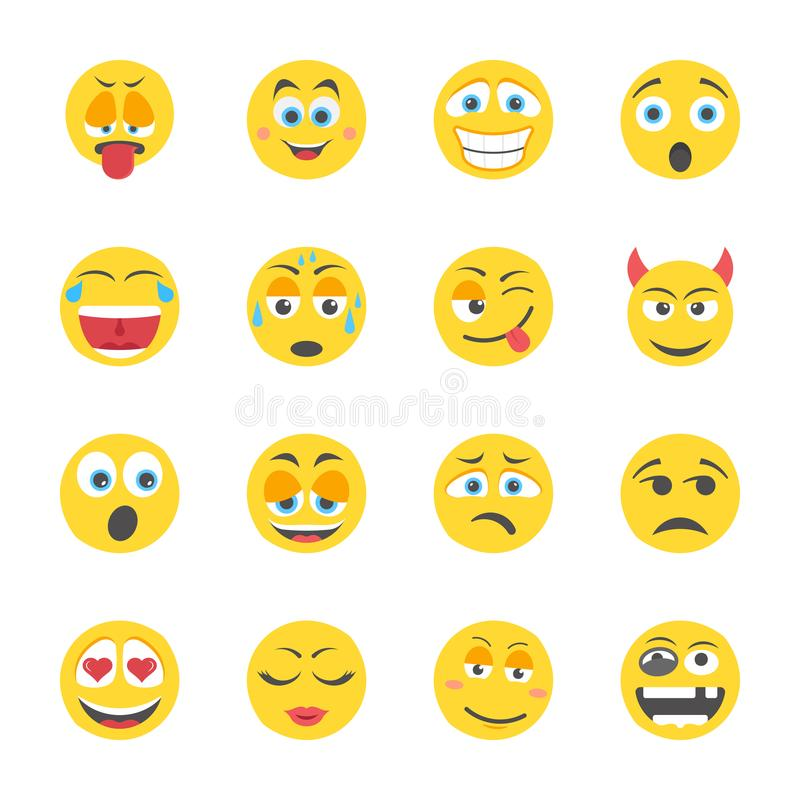 Emoji flat Icons stock illustration