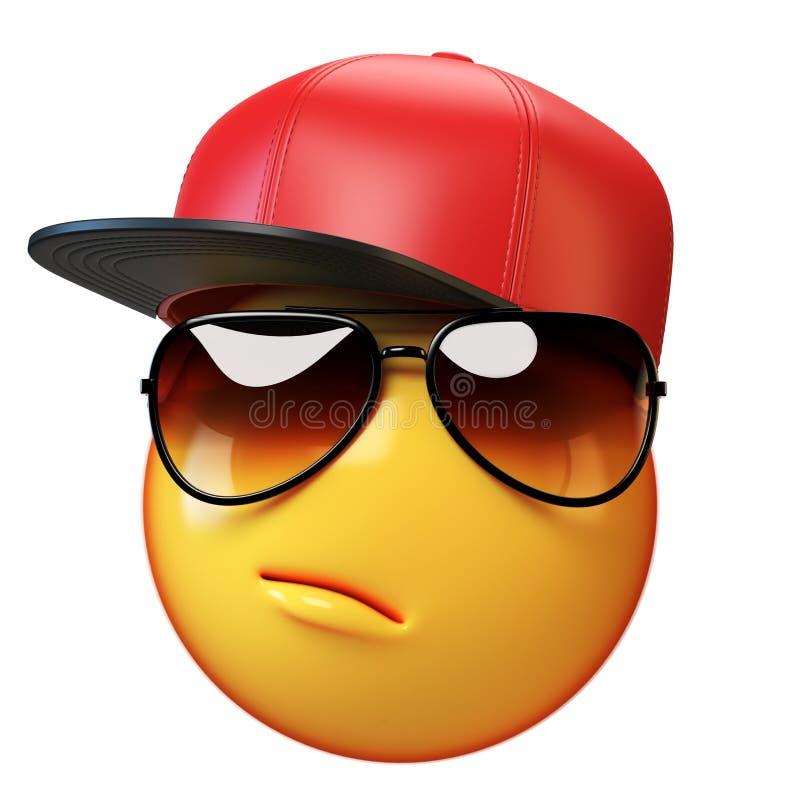 Emoji fresco aislado en el fondo blanco, emoticon del swag con la representación de las gafas de sol 3d stock de ilustración