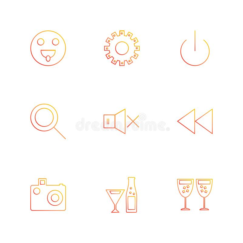 emoji , gear , search , glass , user interface icons , arrows , stock illustration