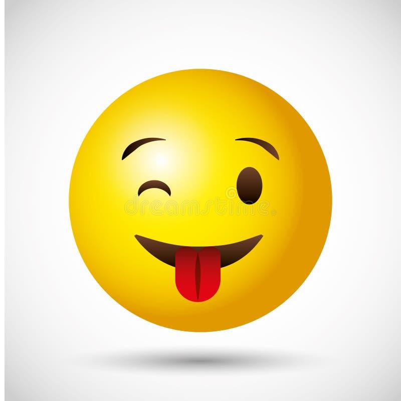 Emoji geel rond gezicht emoticon royalty-vrije illustratie