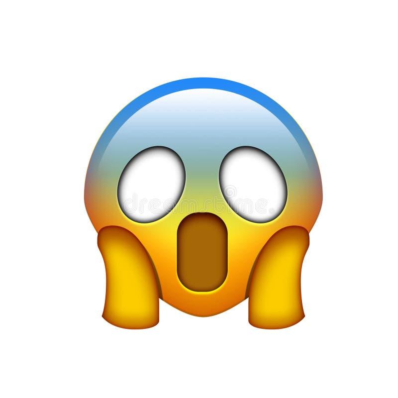 emoji gelbes gespenstisches Gesicht mit der zwei Handikone lizenzfreie abbildung