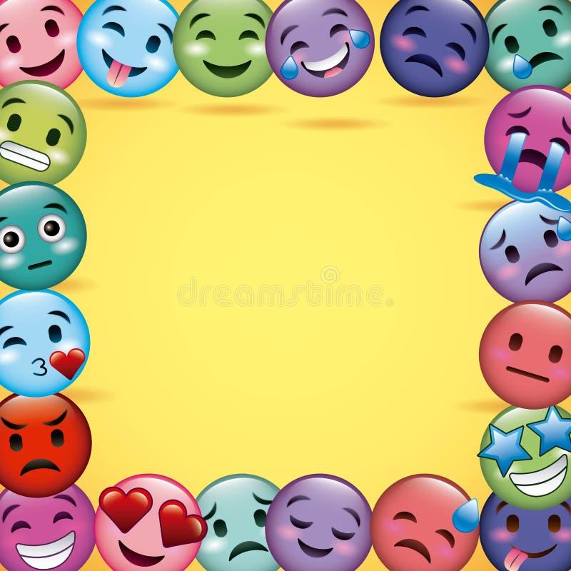 Emoji glimlacht de gele achtergrond van de kaderdecoratie differents vector illustratie