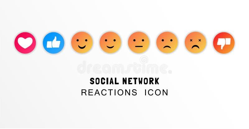 Emoji, gosto e polegar acima dos ícones Conceito do feedback da satisfação do cliente Ilustração lisa do vetor ilustração stock