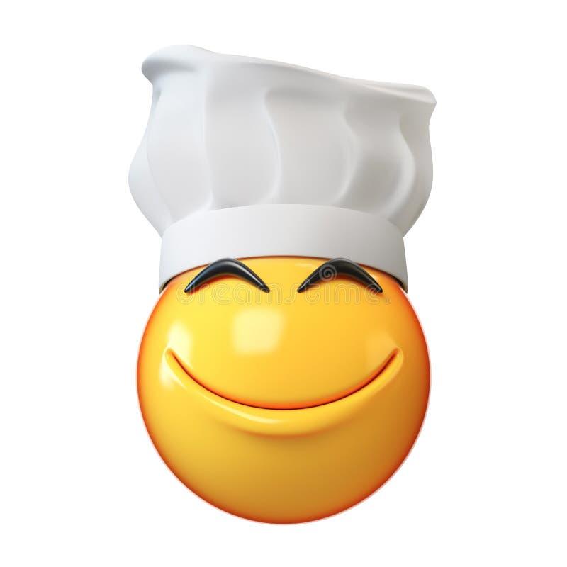 Emoji gotuje odosobnionego na białym tle, emoticon szefa kuchni 3d restauracyjny rendering ilustracji