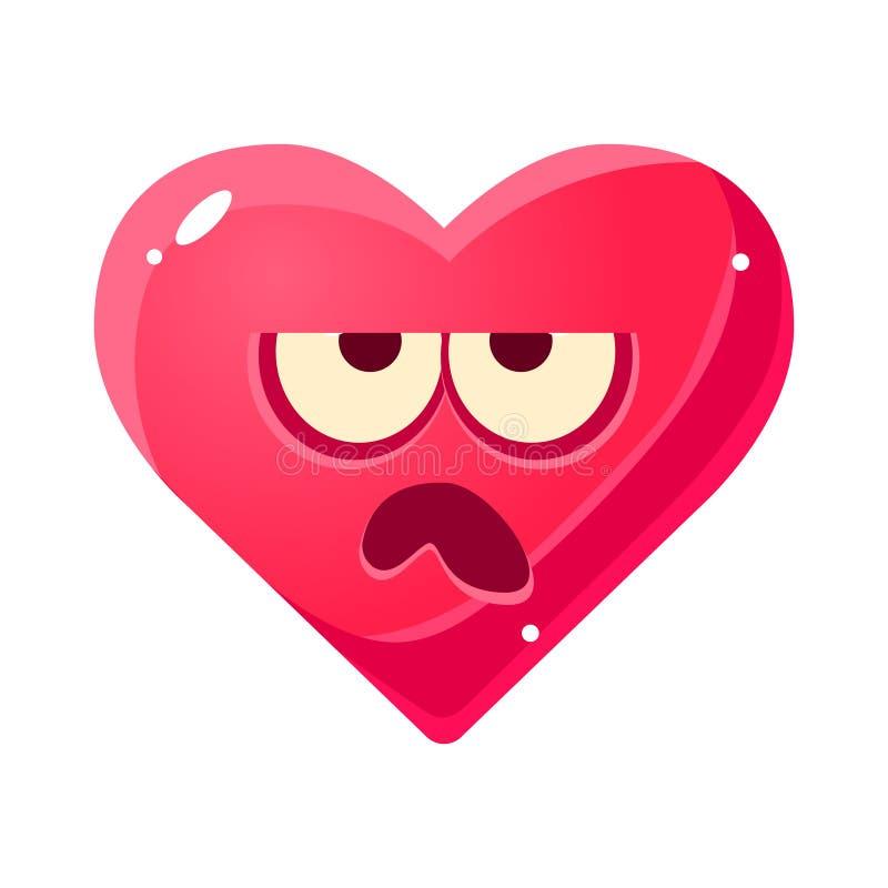 Emoji grincheux, icône d'isolement par expression du visage émotive rose de coeur avec le personnage de dessin animé d'émoticône  illustration stock