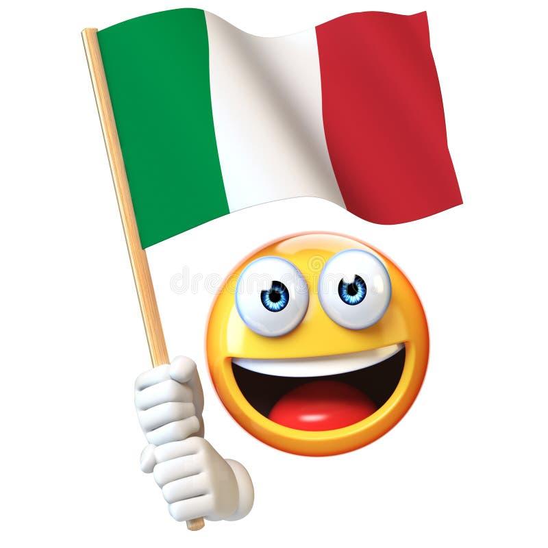 Emoji hållande italiensk flagga, vinkande nationsflagga för emoticon av den Italien 3d tolkningen royaltyfri illustrationer
