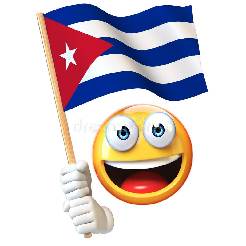 Emoji hållande kubansk flagga, vinkande nationsflagga för emoticon av tolkning för Kuba 3d royaltyfri illustrationer