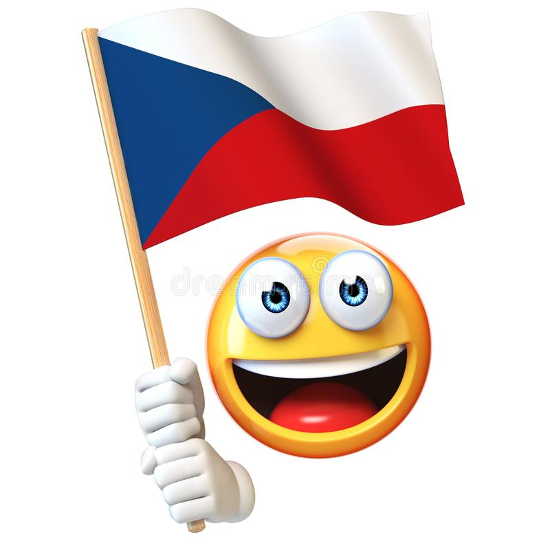 Emoji hållande tjeckisk flagga, vinkande nationsflagga för emoticon av tolkning för Tjeckien 3d vektor illustrationer