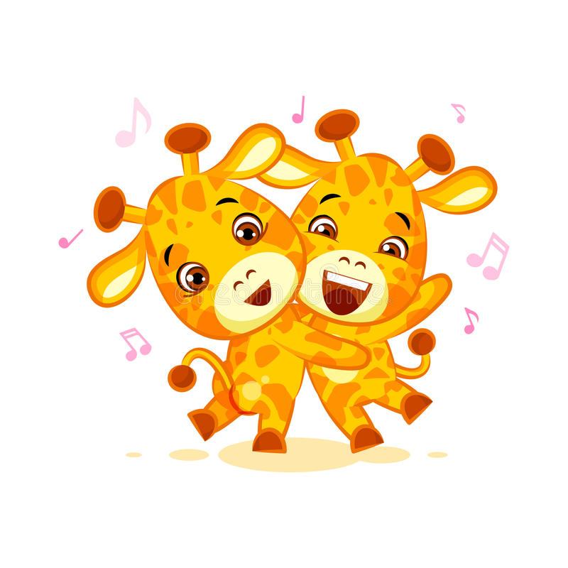 Emoji have date let dance music character cartoon friends Giraffe sticker emoticon royalty free illustration