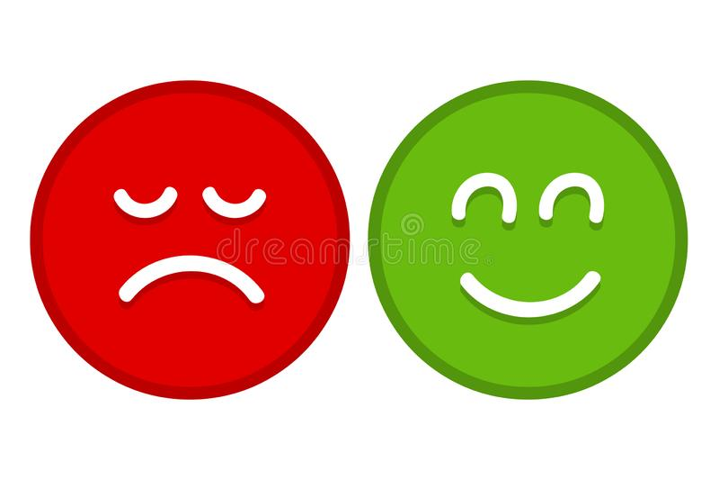 Emoji heureux et triste fait face au vecteur plat pour des applis et des sites Web illustration de vecteur