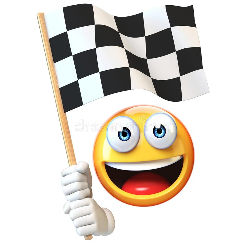 Emoji holding finish flag, emoticon waving black and white checker flag 3d rendering stock illustration