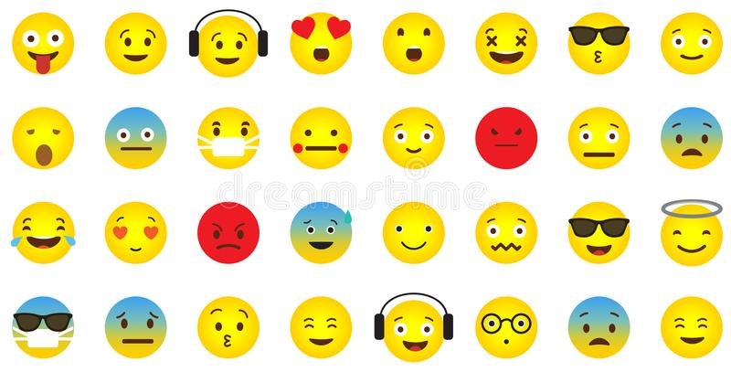 Emoji icon collection with different emotional faces. Emoji icon collection with emotional faces royalty free illustration