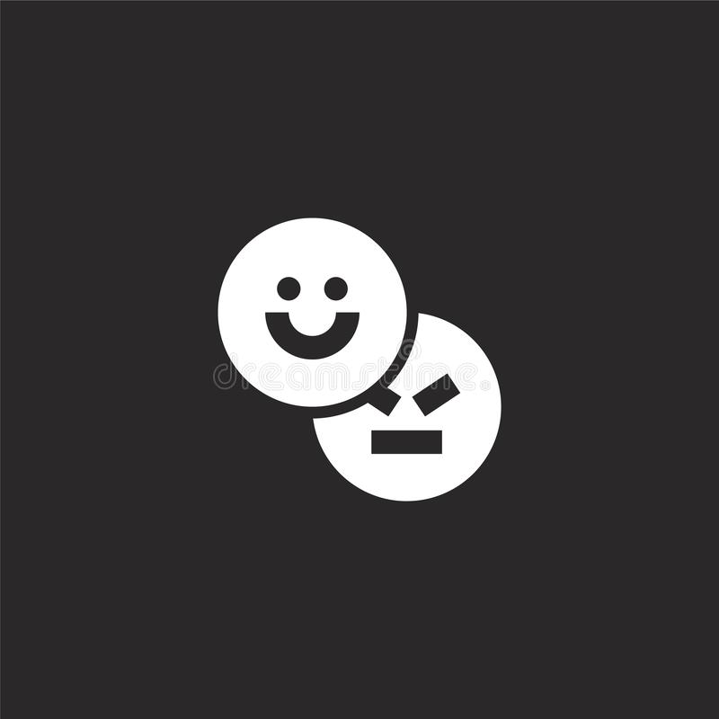 Emoji icon. Filled emoji icon for website design and mobile, app development. emoji icon from filled social media collection. Isolated on black background royalty free illustration