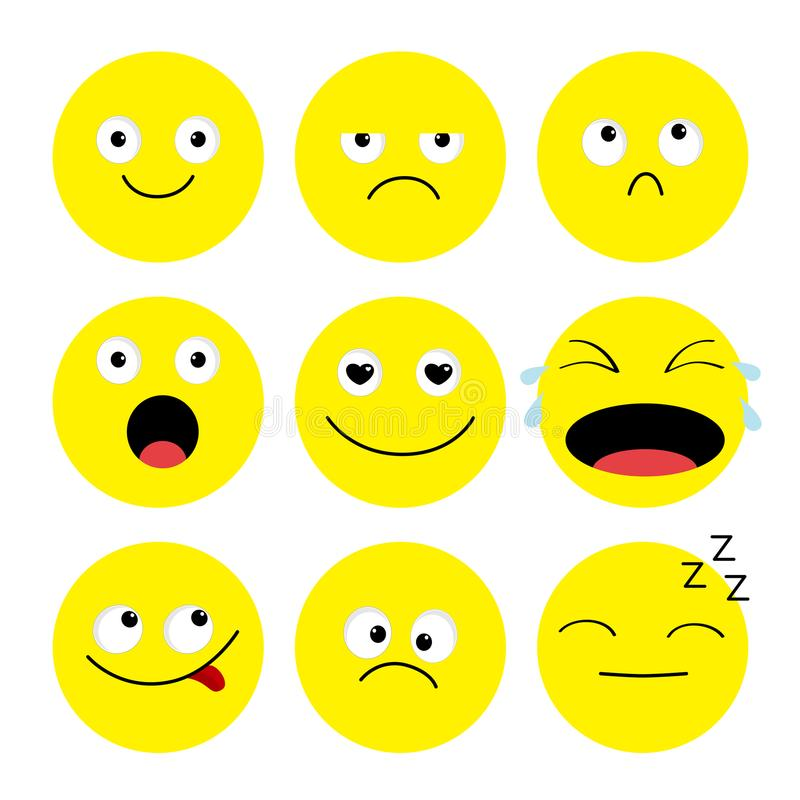 Emoji Icon Set Emoticons Funny Kawaii Cartoon Characters Emotion Collection Happy Surprised Smiling Crying Sad Angry Face He Stock Vector Illustration Of Character Expression 124240830