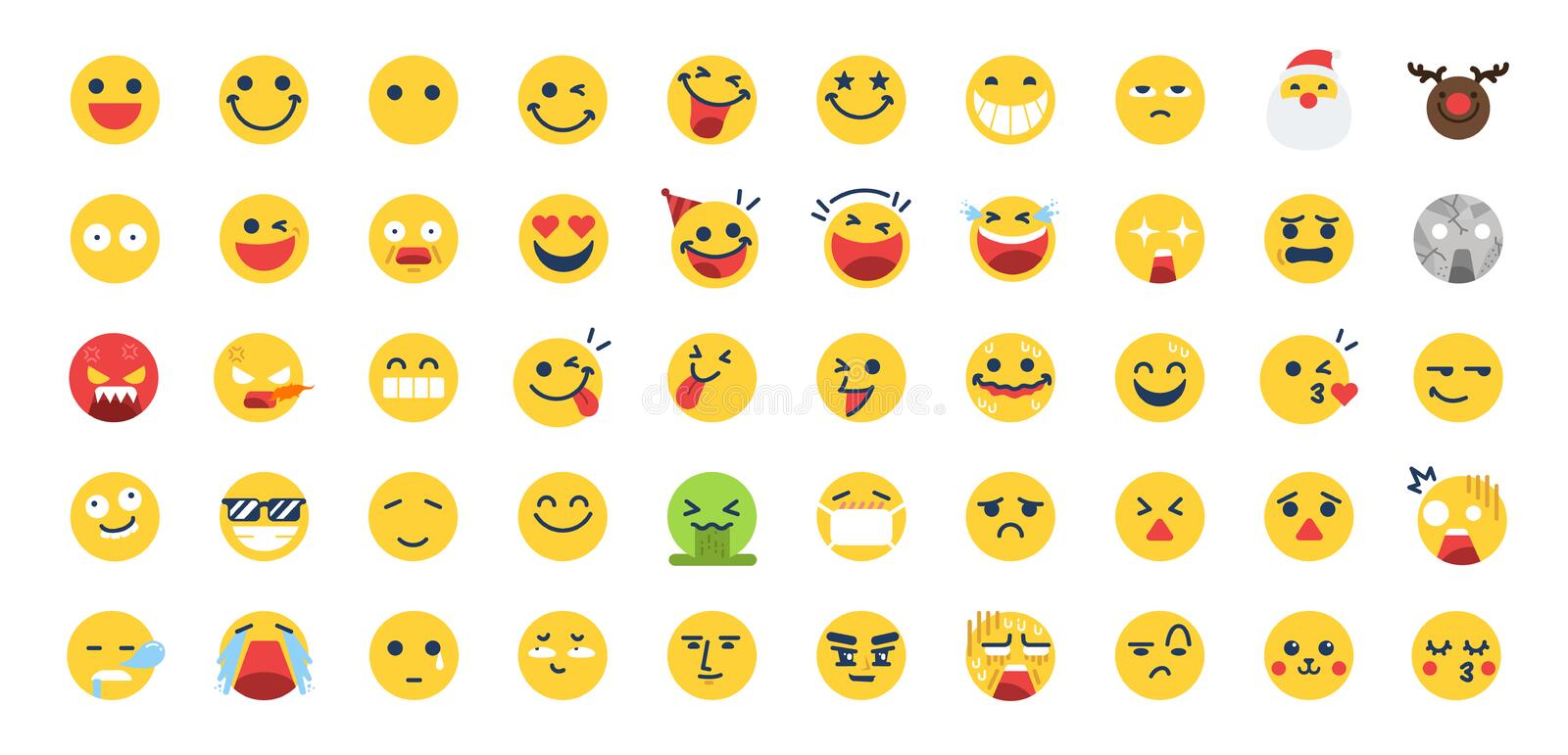 50 Emoji icon set. Included the icons as happy, emotion, face, feeling, emoticon and more. Vector and illustration: 50 Emoji icon set. Included the icons as vector illustration