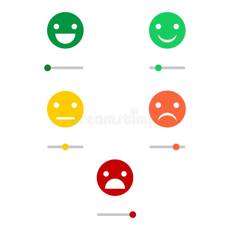 Emoji icons, emoticons for rate of satisfaction level. Five grade smileys for using in surveys. Colored icons. Isolated illustration on white background royalty free illustration