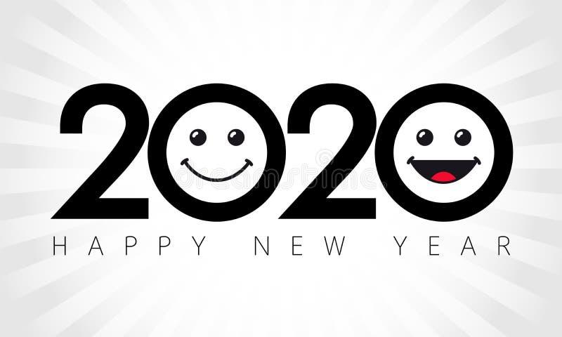 2020 emoji icons logotype, geïsoleerd abstract zwart embleem stock illustratie