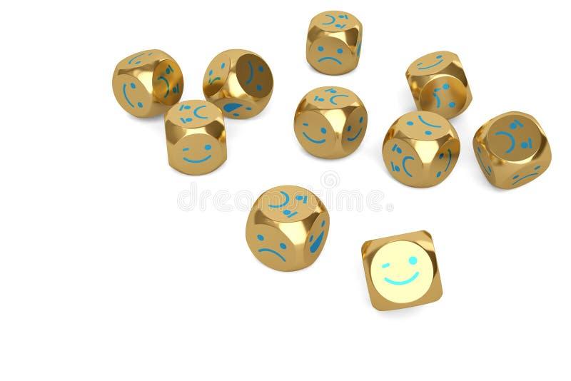 Emoji-Ikone auf Gold würfelt Abbildung 3D vektor abbildung