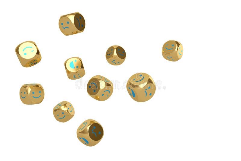 Emoji-Ikone auf Gold würfelt Abbildung 3D lizenzfreie abbildung