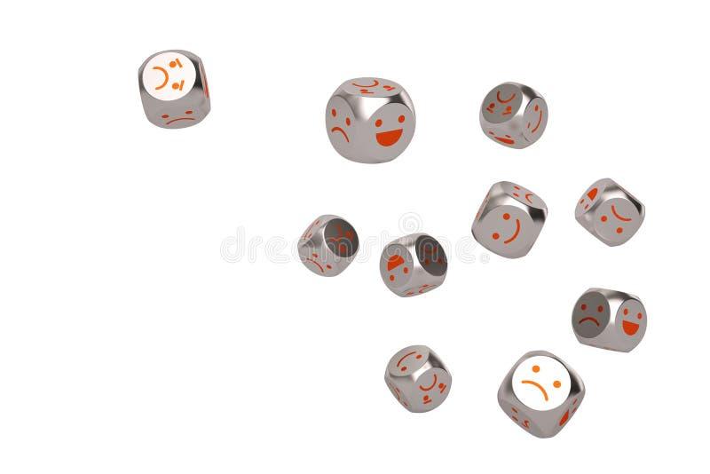 Emoji-Ikone auf Stahl würfelt Abbildung 3D stock abbildung