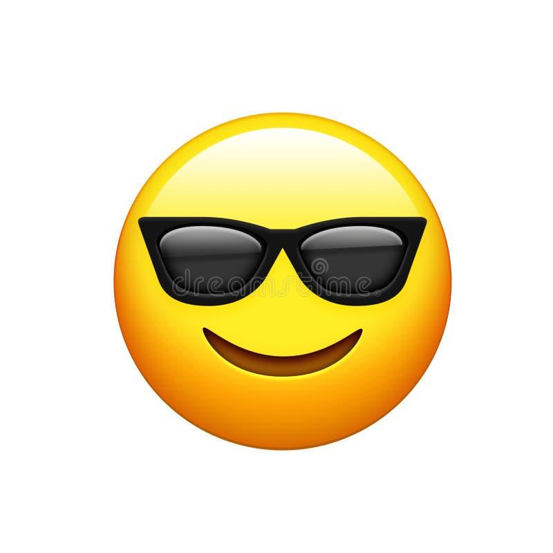 Emoji jaunissent le visage avec les sunglass noirs et sourient icône illustration de vecteur