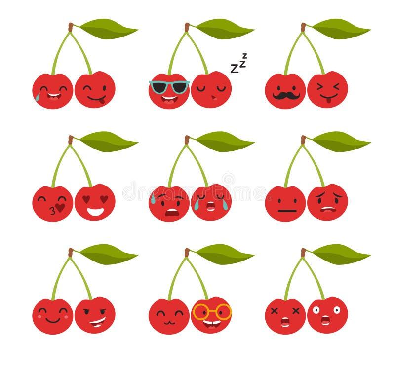 Emoji körsbärvektor royaltyfri illustrationer