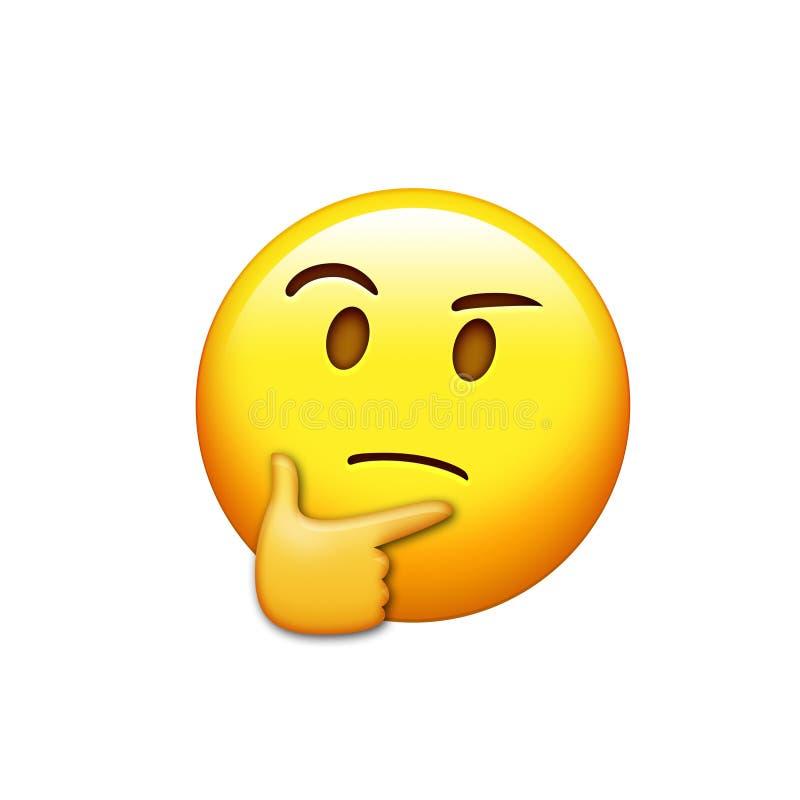 Emoji kolor żółty rozpamiętywa twarz z prawa ręka ikoną ilustracji