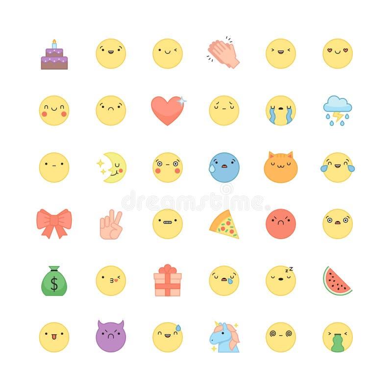 Emoji konturu ikony wektoru set Śliczni emoticons i symbole royalty ilustracja