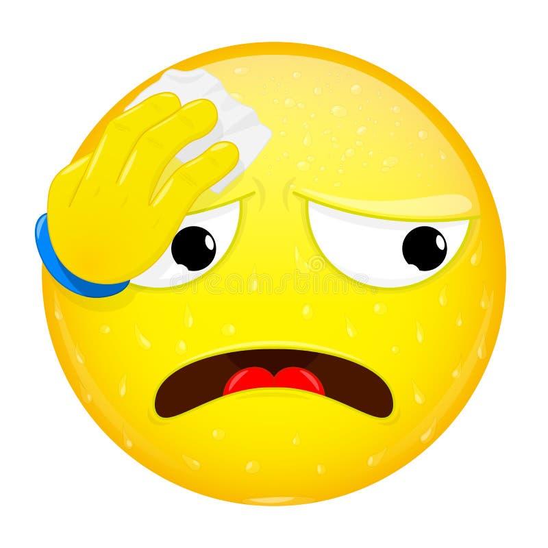 Emoji limpia el sudor con un pañuelo Trabajo duro, calor, emoción del entrenamiento Transpire el emoticon Icono de la sonrisa del libre illustration