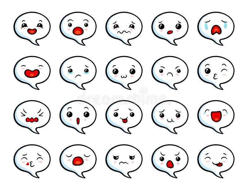 Emoji lindo asiático ilustración del vector