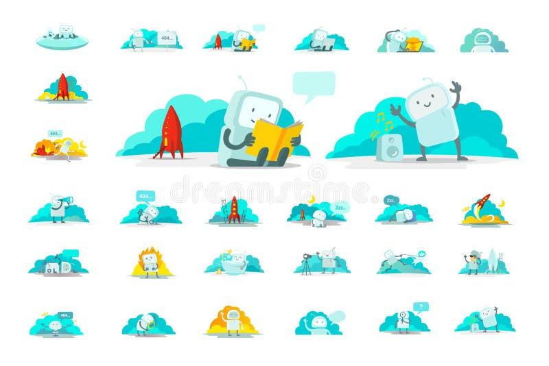 Emoji majcheru charakteru duża ustalona ikona Ślicznego mężczyzna spacesuit ludzkiego kosmita Różne sytuacje 404 błąd znajdujący ilustracji