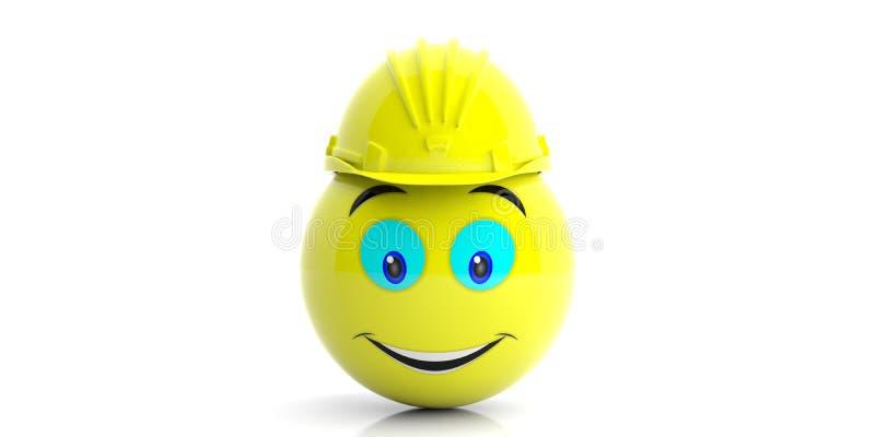 Emoji med en konstruktionshjälm på vit bakgrund illustration 3d royaltyfri illustrationer