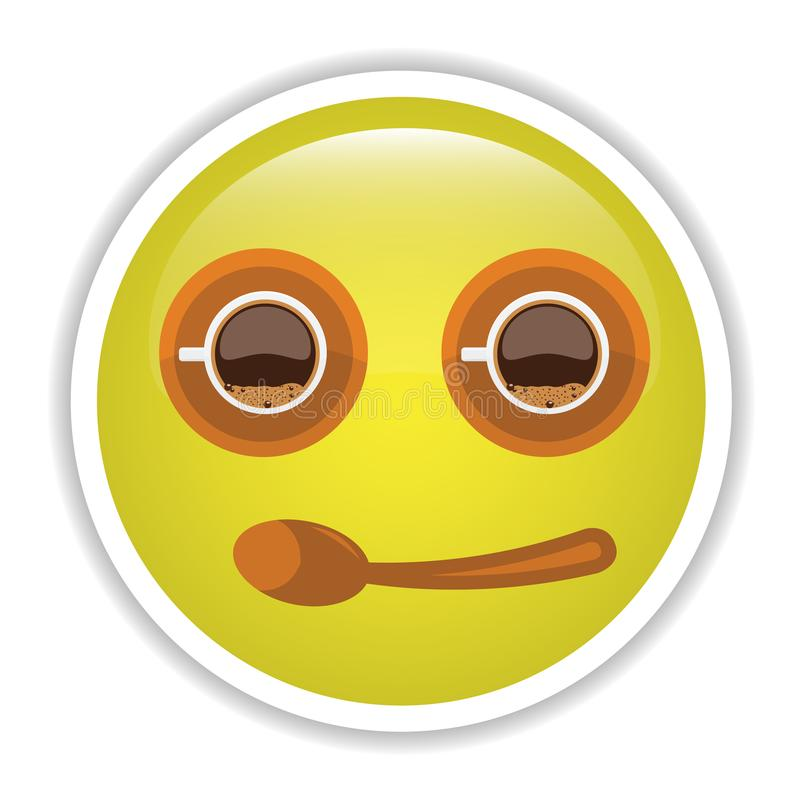 Emoji med kaffekoppen för bästa sikt och sauser royaltyfri illustrationer