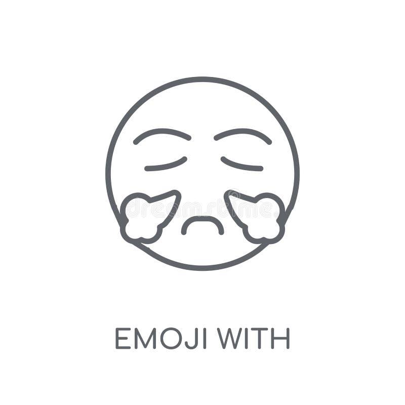 Emoji met Stoom van Neus lineair pictogram Het moderne Verstand van overzichtsemoji vector illustratie