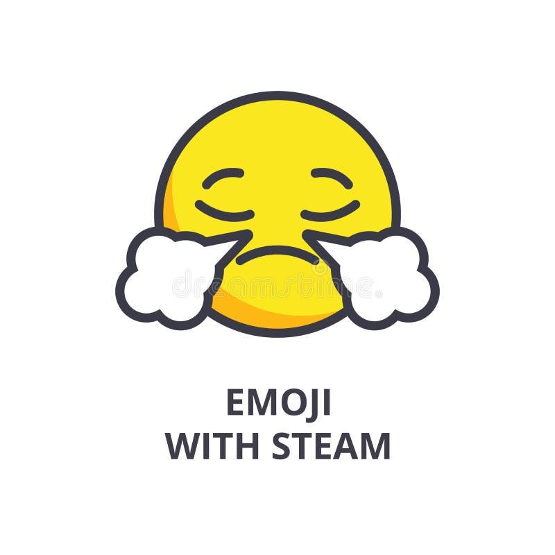 Emoji met vector de lijnpictogram van stoomemoji, teken, illustratie op achtergrond, editable slagen stock illustratie