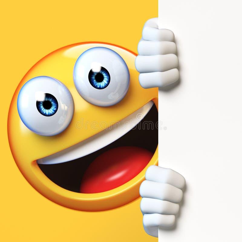 Emoji mienia pustego miejsca deska odizolowywająca na białym tle, emoticon advertiser 3d rendering royalty ilustracja