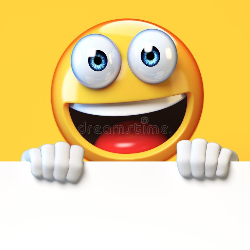 Emoji mienia pustego miejsca deska odizolowywająca na białym tle, emoticon advertiser 3d rendering ilustracja wektor