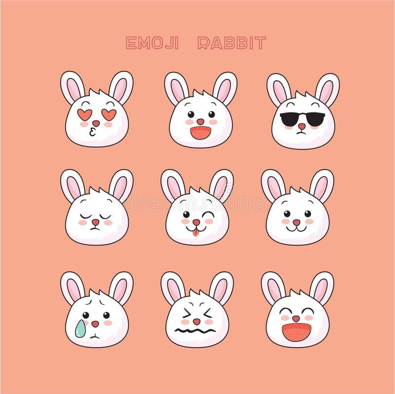 Emoji mignon de lapin, icônes de sourire réglées illustration libre de droits