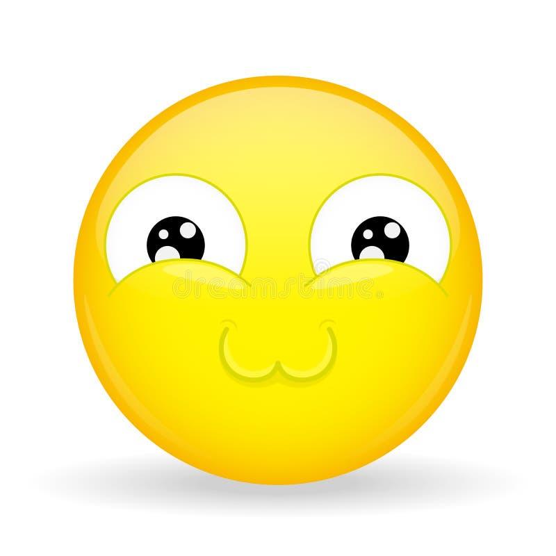 Emoji molto sveglio Emozione della colata Emoticon dolce Stile del fumetto Icona di sorriso dell'illustrazione di vettore royalty illustrazione gratis