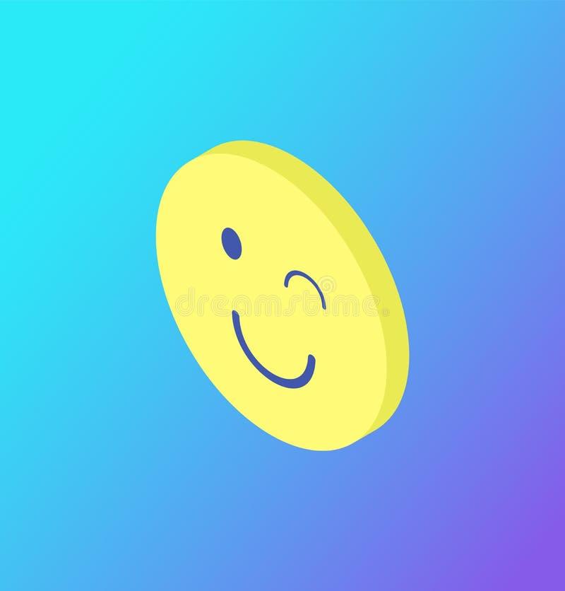 Emoji Mruga mruganie znaka ikony Odosobnionego wektor royalty ilustracja