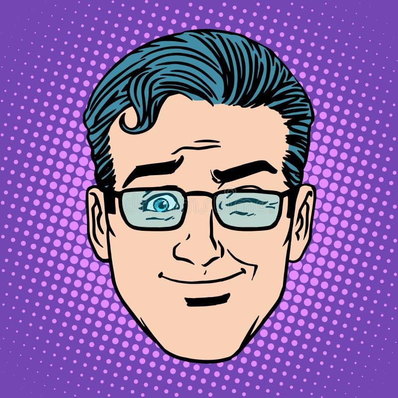 Emoji mrugnięcia mężczyzna twarzy ikony gemowy symbol royalty ilustracja