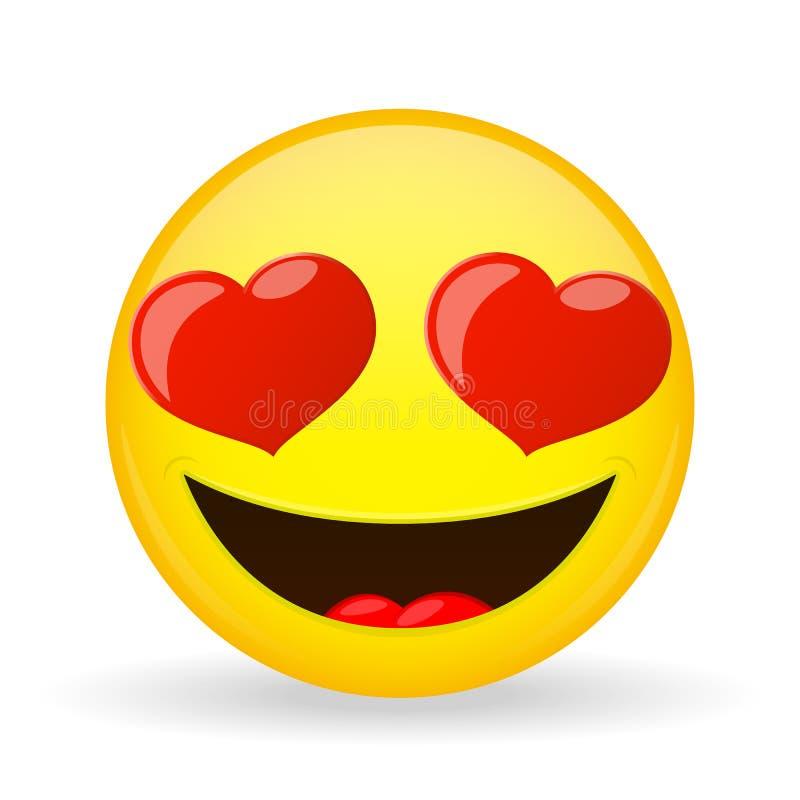 Emoji nell'amore Emozione di felicità Emoticon Amorously sorridente Stile del fumetto Icona di sorriso dell'illustrazione di vett illustrazione vettoriale