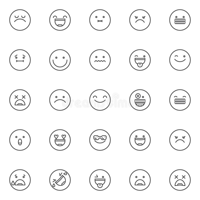 Emoji outline icons set stock illustration