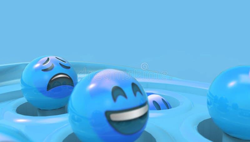 Emoji płacz i roześmiana twarz Uroczy z Błękitnymi pastelowego koloru brzmieniami - ilustracja wektor
