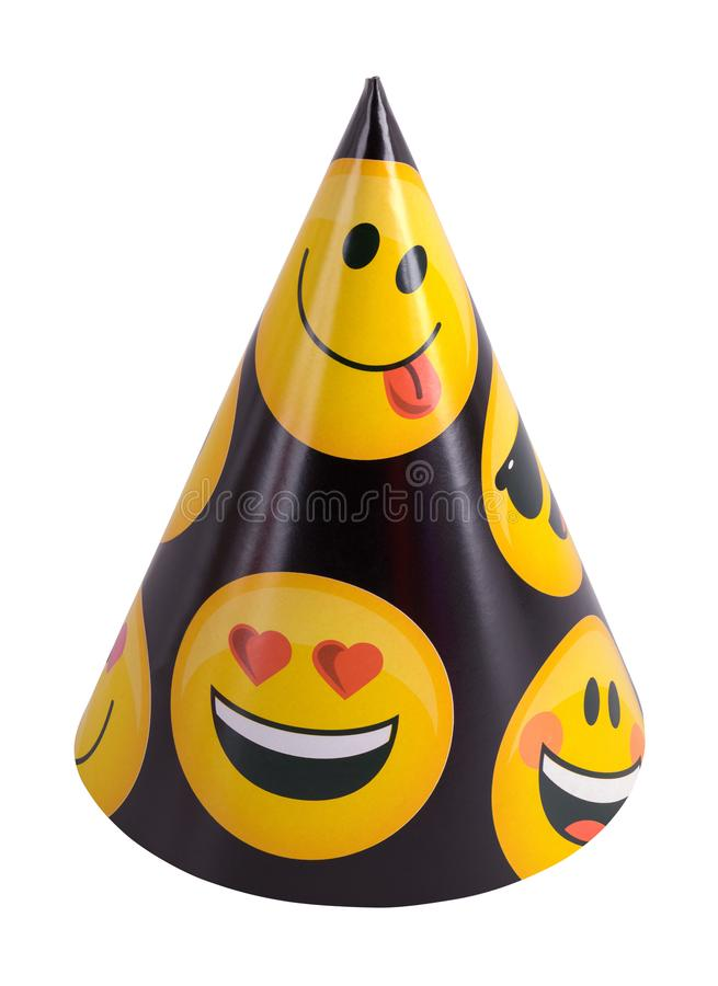 Emoji Party Hat. Emoji Party Cone Hat Cut Out on White Background stock image