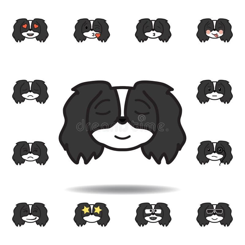 emoji pekingese ícone colorido aliviado Ajuste dos ícones pekingese da ilustração do emoji Os sinais, símbolos podem ser usados p ilustração stock