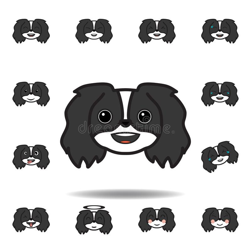 emoji pekingese que sorri o ícone colorido Ajuste dos ícones pekingese da ilustração do emoji Os sinais, símbolos podem ser usado ilustração royalty free
