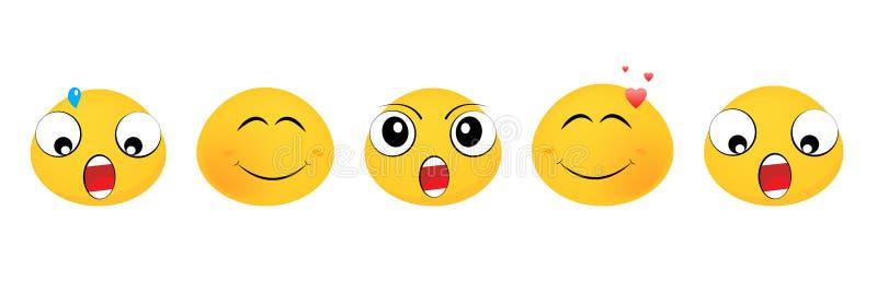 Emoji a placé de la conception plate vecteur pr?t d'image d'illustrations de t?l?chargement Émoticônes d'émoticônes illustration stock
