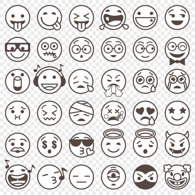Emoji preto e branco esboçado ajustou 2 ilustração do vetor